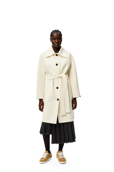 LOEWE Belted coat in wool and cashmere Ivory pdp_rd