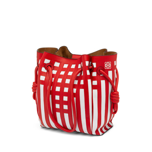 LOEWE Flamenco Knot Tote Grid S Bag Scarlet Red/White front