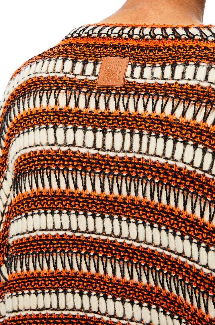 LOEWE Jersey en punto de algodón y malla a rayas Naranja/Negro pdp_rd