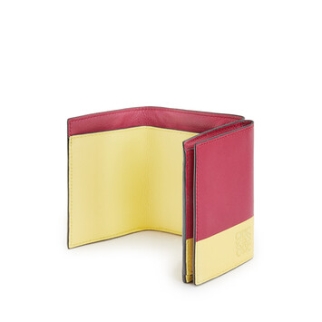 LOEWE Color Block Trifold Wallet Raspberry/Yellow front