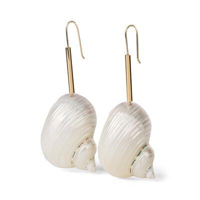 LOEWE Snails Earrings Gold/Burgundy front