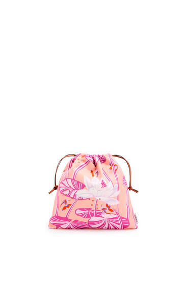 LOEWE Small Drawstring Pouch In Waterlily Canvas Salmon/Pink pdp_rd