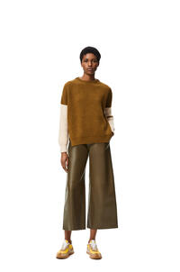 LOEWE Sweater in ribbed alpaca, polyamide and wool Sand/Khaki Green pdp_rd