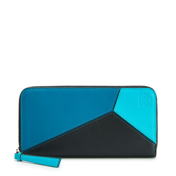 LOEWE Puzzle Zip Around Wallet Dark Lagoon/Black front