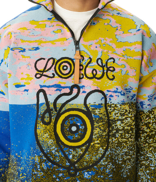 LOEWE Eln Zip Highneck Sweater Multicolor front