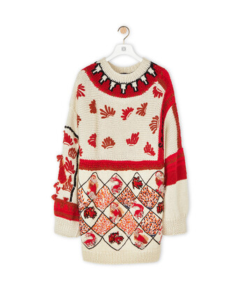 LOEWE Embroidered Sweater Animals White/Red front