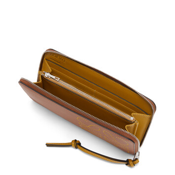 LOEWE Brand Zip Around  Wallet Tan/Ochre front