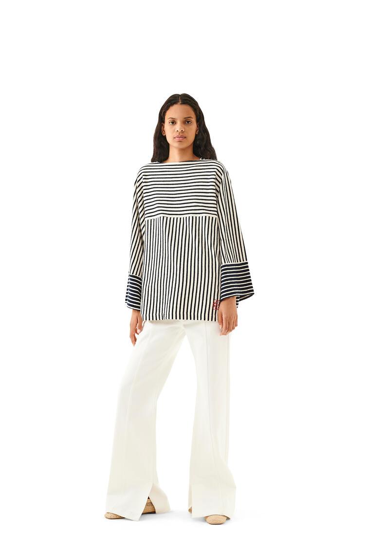 LOEWE Long sleeve t-shirt in striped cotton Navy Blue/Ecru pdp_rd
