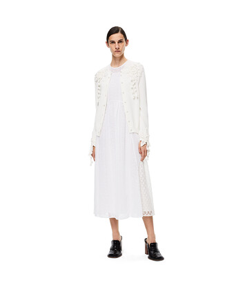 LOEWE Embroidered Cardigan White front