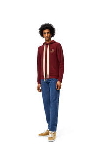 LOEWE Anagram embroidered hoodie in cotton Burgundy pdp_rd