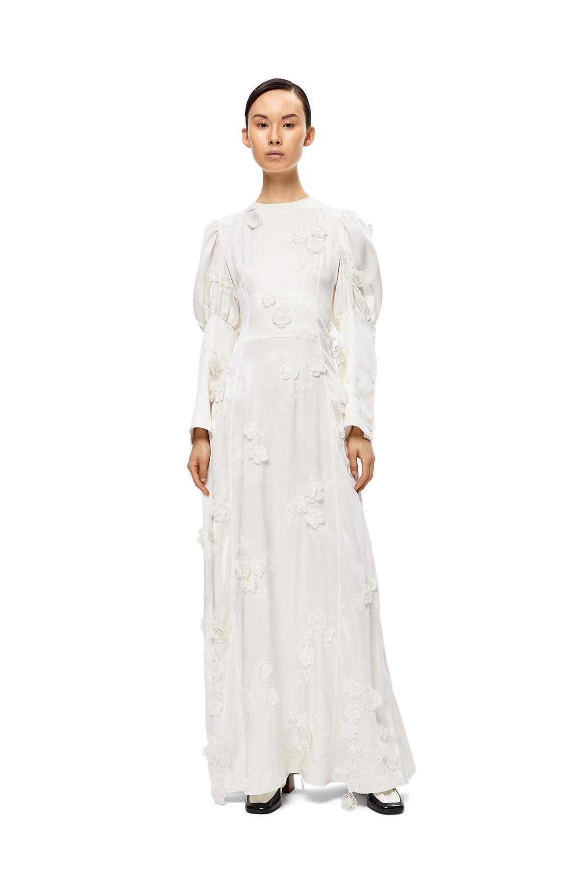 LOEWE Flower Satin Dress White front