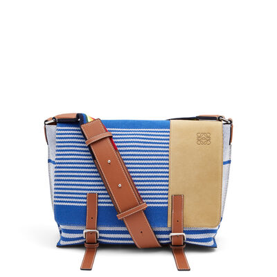 LOEWE Milit Messenger Stripes S Bag Pacific Blue/Multicolor front