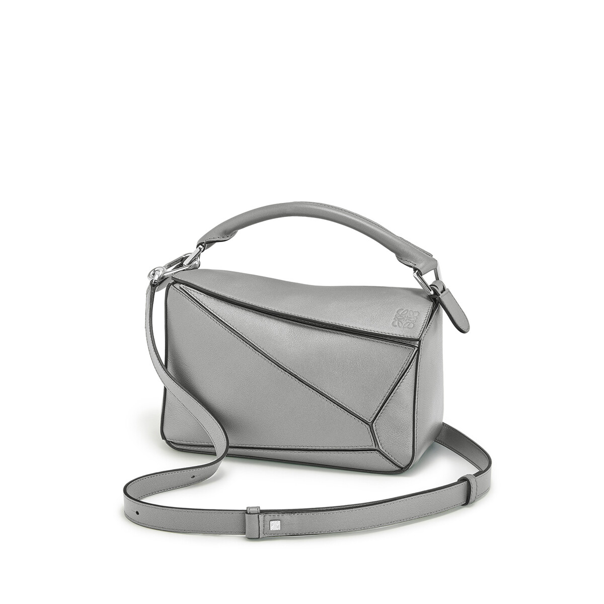 LOEWE Bolso Puzzle Mini Gris Metalico front