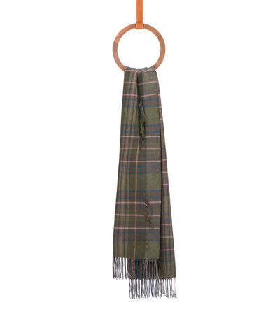 LOEWE 80X180 Scarf Checks Fil Coupe Apple Green/Pink front