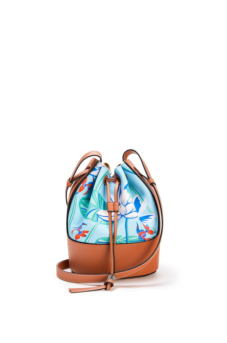 LOEWE Small Balloon Bag In Waterlily Canvas And Calfskin Aqua/Tan pdp_rd