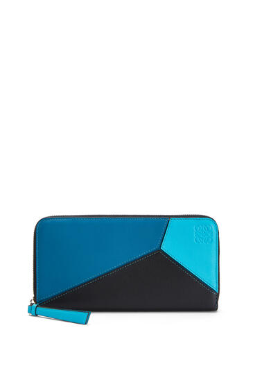 LOEWE Cartera Puzzle Zip Around En Piel De Ternera Clásica Azul Laguna Oscuro/Negro pdp_rd