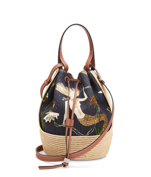 LOEWE 美人鱼帆布和酒椰纤维 Balloon 手袋 Black/Natural front