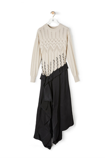 LOEWE Cable Knit Drapped Dress White/Black front