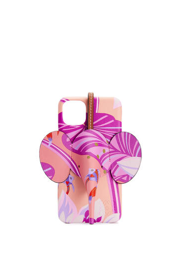 LOEWE Elephant cover for iPhone 11 Pro Max in printed classic calfskin Salmon/Pink pdp_rd