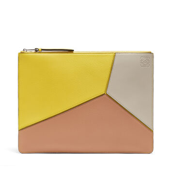 LOEWE Pouch Plano Mediana Puzzle Amarillo/Rosa Polvo front