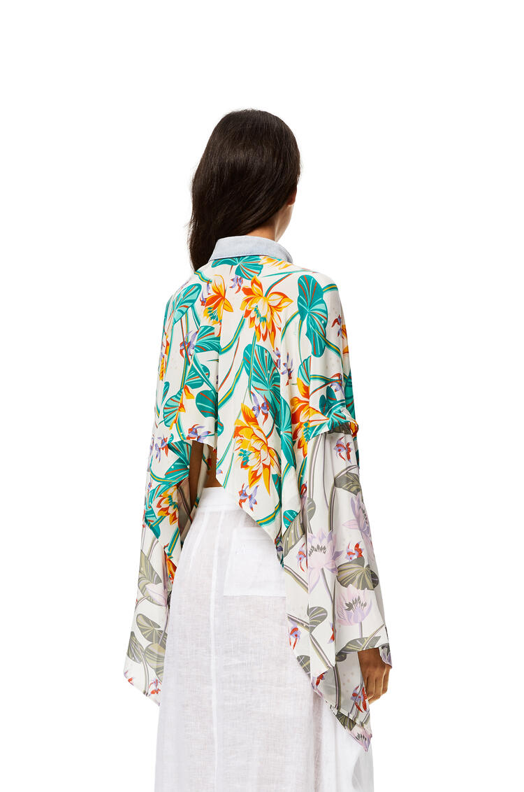 LOEWE Cropped jacket in waterlily silk White/Orange pdp_rd