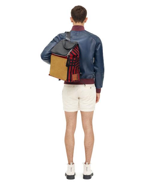LOEWE Goya Grid Backpack Scarlet Red/Black all