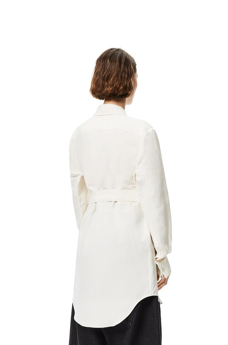 LOEWE Camisa cruzada de lino y seda Ecru pdp_rd