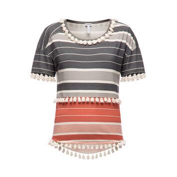LOEWE Tassel T-Shirt Stripes Negro/Rojo/Blanco front