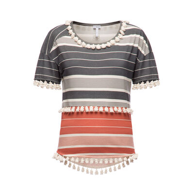 LOEWE T-Shirt Stripes Pompons Black/Red/White front