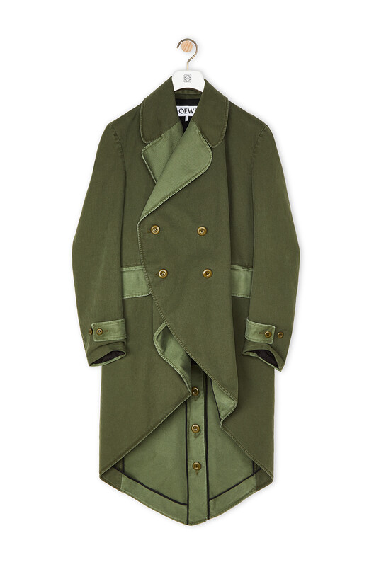 LOEWE Cutaway Double-Breasted Coat Light Khaki G/Dark Khaki G front