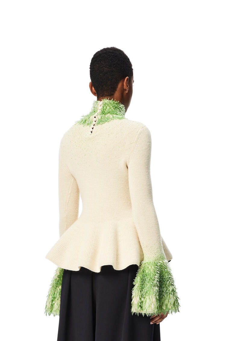 LOEWE Embellished high neck sweater in wool and alpaca Off-white pdp_rd