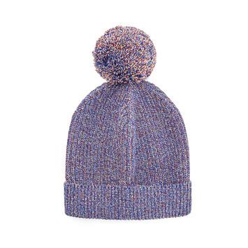 LOEWE Eln Melange Knit Beanie Navy Blue front