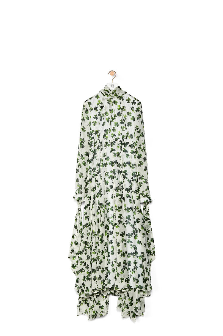 LOEWE Lavalliere long dress in shamrock silk White/Green pdp_rd