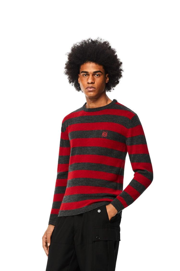 LOEWE 羊毛和羊驼毛圆领条纹毛衣 红色/灰色 pdp_rd
