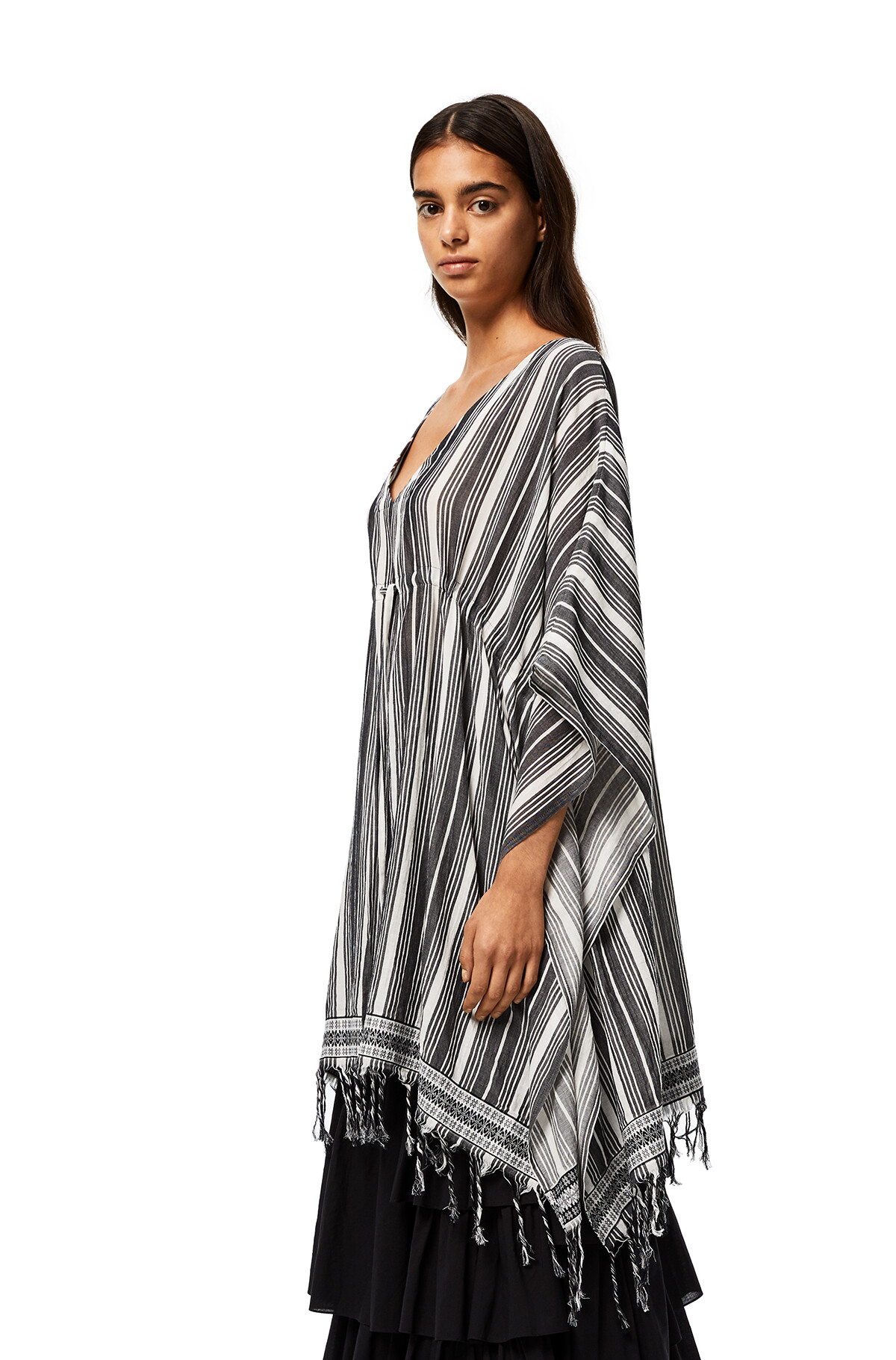 LOEWE Caftan-Style Top In Striped Linen Black/White front