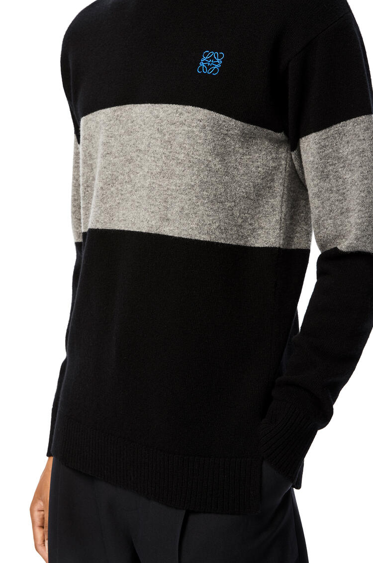 LOEWE Anagram Embroidered Sweater In Stripe Cashmere Black/Grey pdp_rd