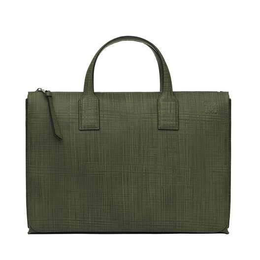 LOEWE Goya Simple Briefcase Khaki Green all