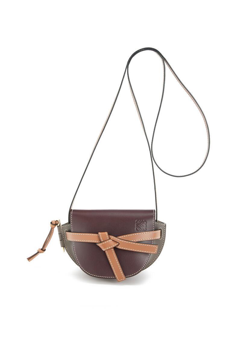 LOEWE Mini Gate Bag In Soft Calfskin Oxblood/Taupe pdp_rd