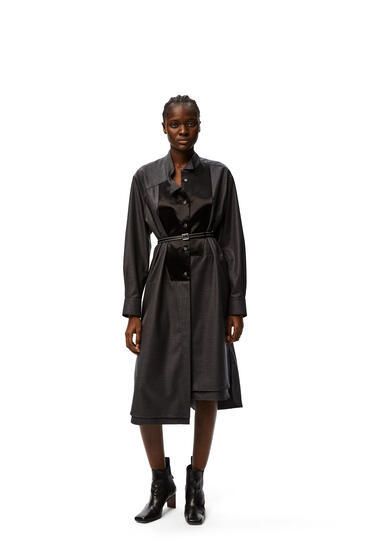 LOEWE Asymmetric midi shirtdress leather belt in wool Dark Grey pdp_rd