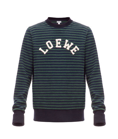 LOEWE Loewe Stripe Sweatshirt Navy Blue/Green front