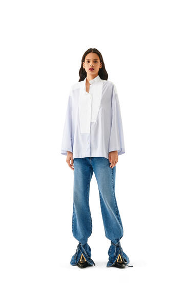LOEWE Oversize shirt in striped cotton Baby Blue/White pdp_rd
