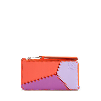 LOEWE Puzzle Coin Cardholder In Classic Calfskin Grapefruit/Mauve front