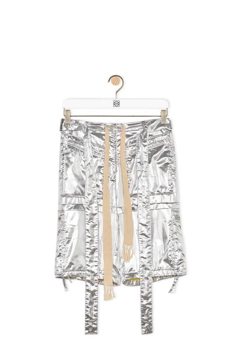LOEWE Silver cargo shorts in polyester and silk Silver pdp_rd