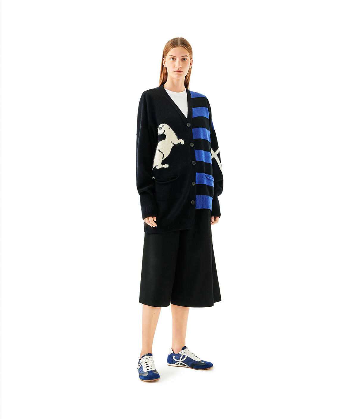 LOEWE Asymmetric Cardigan Animals Black/Royal Blue front