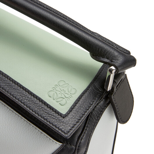 LOEWE Puzzle Grid Small Bag Pale Green/Kaolin front