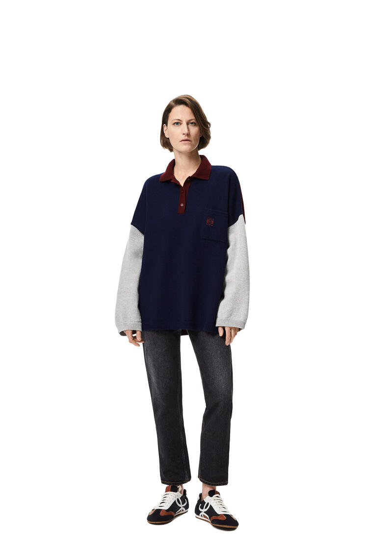 LOEWE Anagram embroidered oversize polo collar sweater in wool Navy Blue/Grey pdp_rd