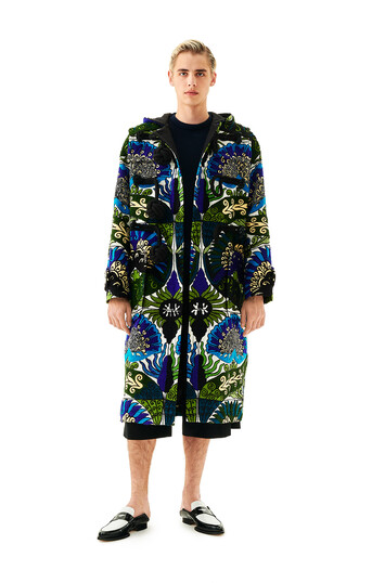LOEWE Embroidrd Duffle Coat Flowers Blue/Green front