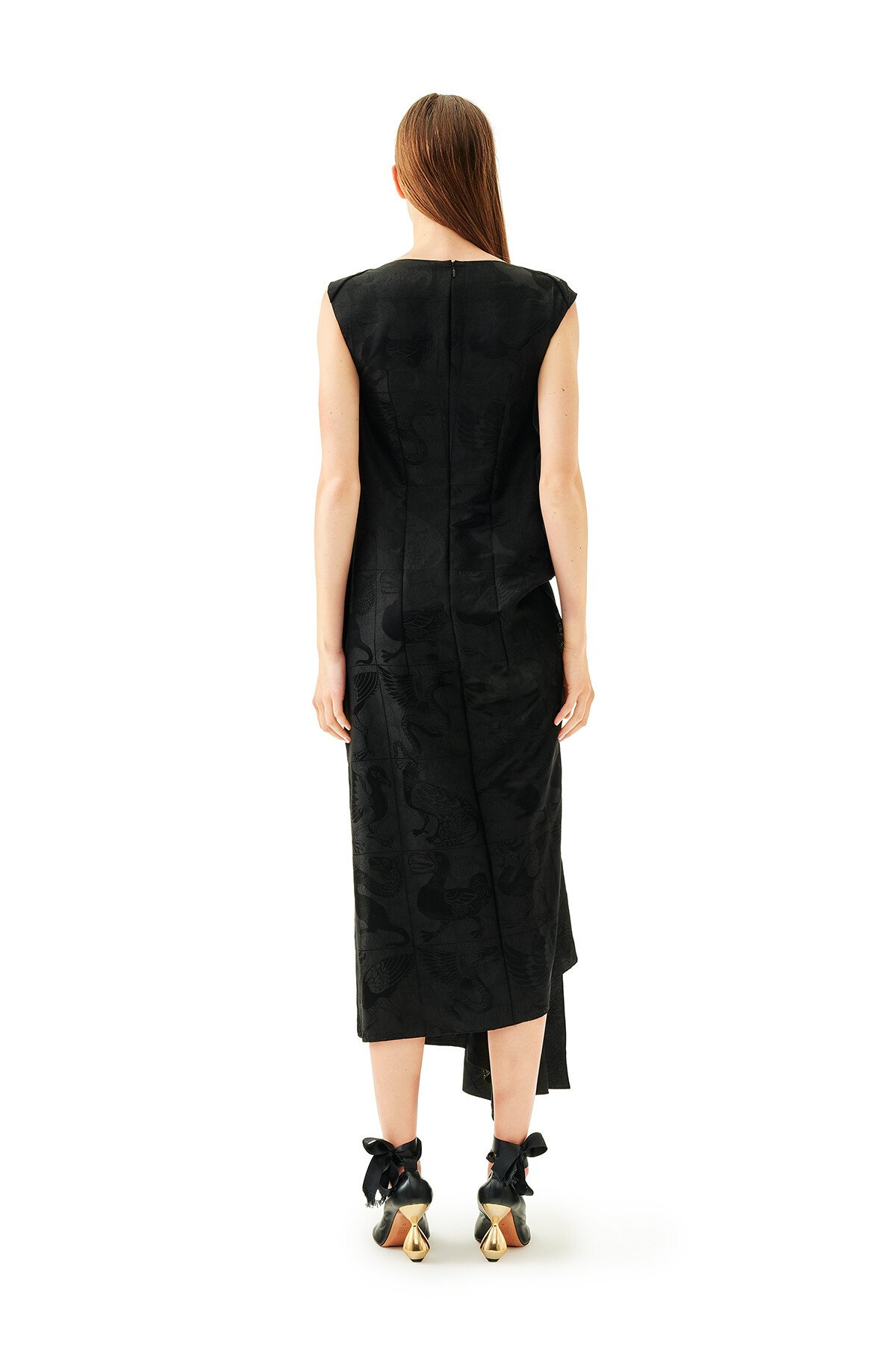 LOEWE Embroidered Jacquard Dress Animals Black front