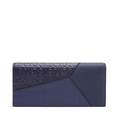 LOEWE Puzzle Long Horiz Wallet Navy Blue front