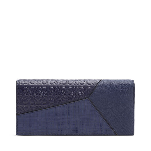 LOEWE Puzzle Long Horizontal Wallet Navy Blue front